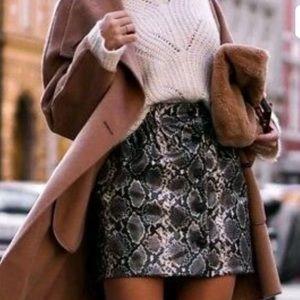 Zara Snakeskin Print Mini Skirt